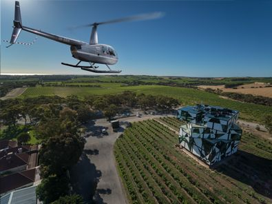 Helicopter landing at d'Arenberg Cube